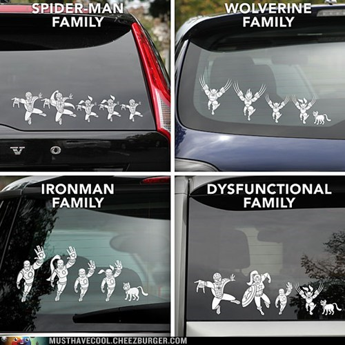 Spider-Man,decals,x men,family car,iron man,superheroes,dysfunctional,wolverine