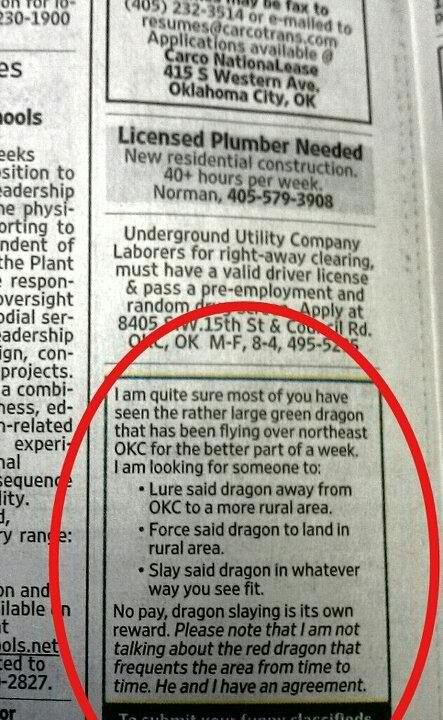 classifieds,dragons,funny,wtf
