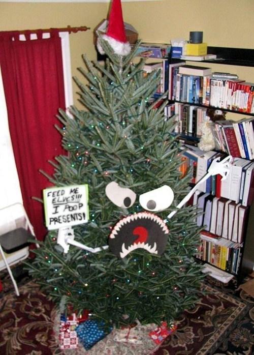 poop lights christmas tree eating elves - 6850717184