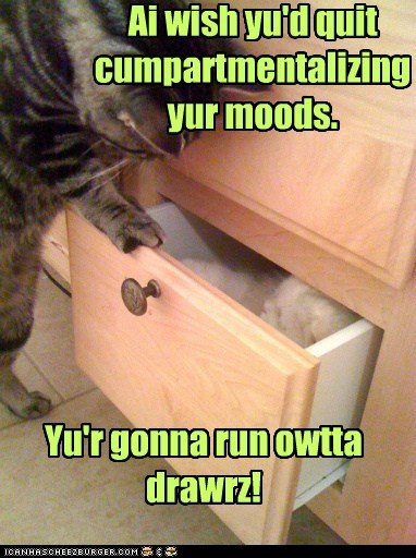 Ai wish yu'd quit cumpartmentalizing yur moods. Yu'r gonna run owtta drawrz!