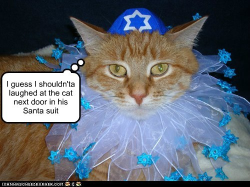 hanukkah captions laugh santa jewish Cats - 6850938880