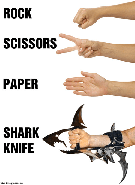 Badass,knife,winning,shark,rock paper scissors