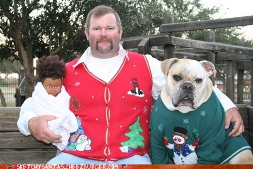 christmas,fashion,wtf,bulldog,sweater,funny,holidays,dogs,g rated,sketchy santas