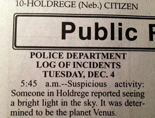 ufo police report Astronomy newspaper - 6852120064