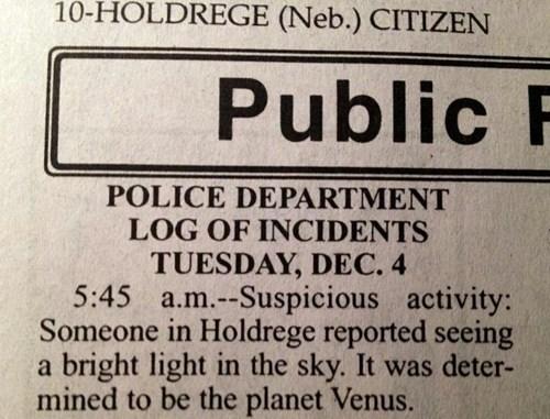 ufo police report Astronomy newspaper - 6852120064