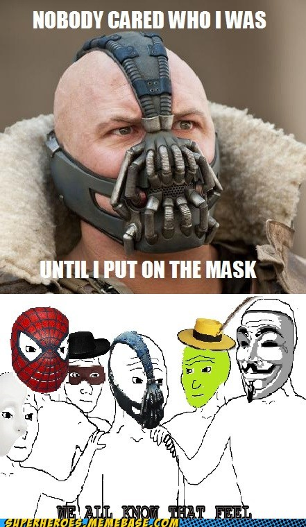 that feel mask bane v for vendetta Spider-Man the mask batman
