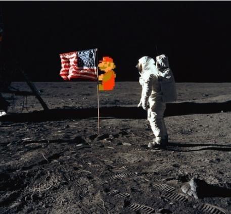 moon landing,flag,mario