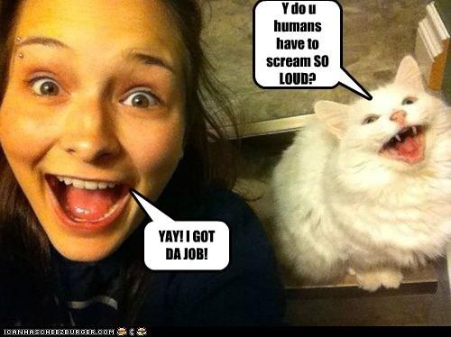 YAY! I GOT DA JOB! Y do u humans have to scream SO LOUD?