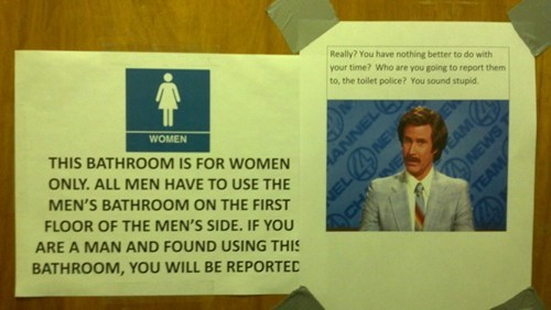 sign bathroom anchorman
