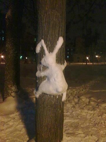 snow man sculpture design cute bunny - 6855204096