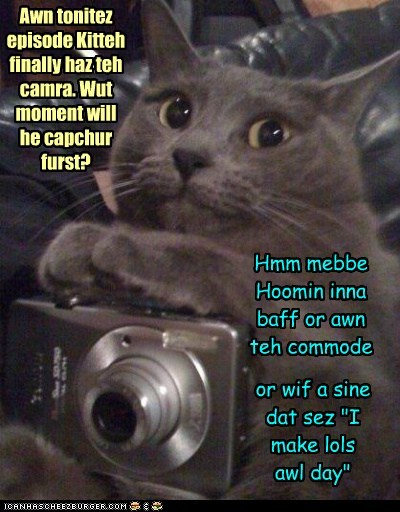 """Awn tonitez episode Kitteh finally haz teh camra. Wut moment will he capchur furst? Hmm mebbe Hoomin inna baff or awn teh commode or wif a sine dat sez """"I make lols awl day"""""""