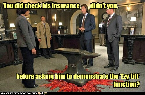 insurance jensen ackles anvil crushed Supernatural dean winchester misha collins sam winchester Jared Padalecki castiel - 6855608576