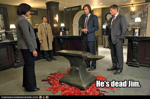 obvious,jensen ackles,anvil,crushed,he's dead jim,Supernatural,dean winchester,misha collins,sam winchester,Jared Padalecki,castiel