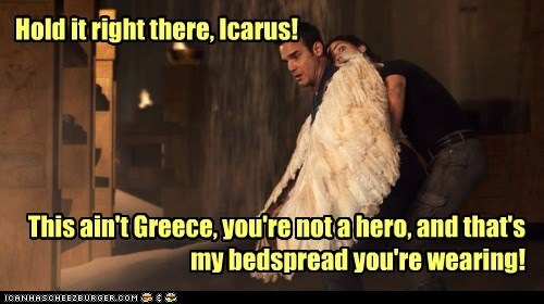 greece hero bedspread pete latimer wings eddie mcclintock hold it myka berring Icarus joanne kelly