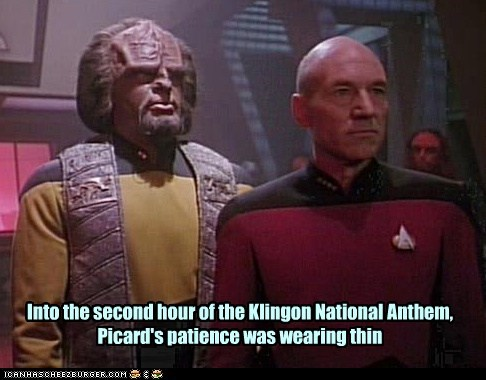 annoyed,Worf,Captain Picard,patience,the next generation,national anthem,Star Trek,klingon,patrick stewart