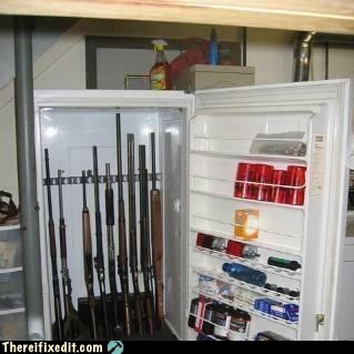 redneck,gun locker,refrigerator,g rated,there I fixed it