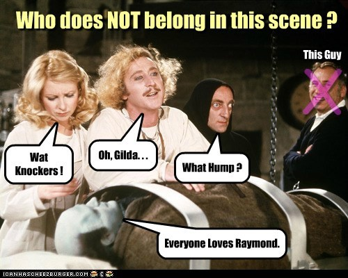 Who does NOT belong in this scene ? Wat Knockers ! Oh, Gilda. . . What Hump ? Everyone Loves Raymond. X This Guy