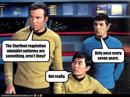 Captain Kirk,Spock,miniskirt,reactions,Leonard Nimoy,Star Trek,mixed,William Shatner,Shatnerday,sulu,george takei
