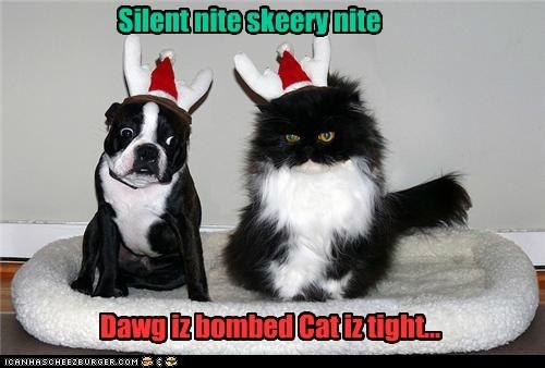 Silent nite skeery nite Dawg iz bombed Cat iz tight...