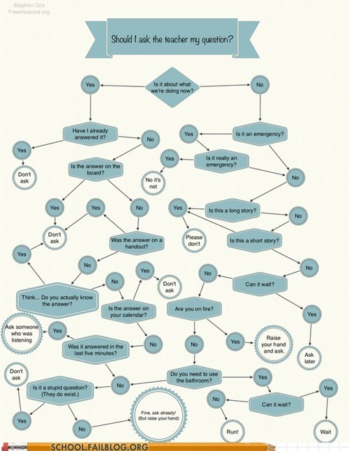 asking questions teacher flow chart g rated School of FAIL - 6863750912