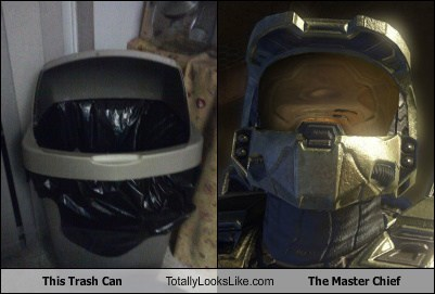 TLL master chief video game halo trash can funny