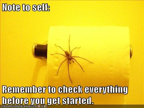 note to self,scary,doomed,spider,toilet paper,check