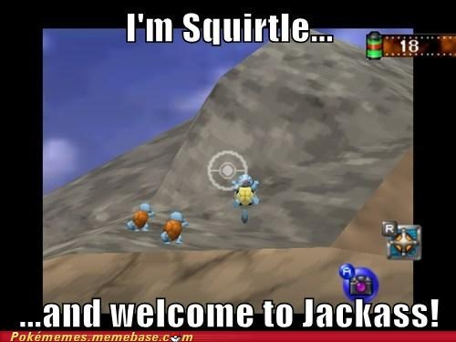 pokemon snap,squirtle,mankey topple,jackass