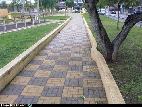 brick path concrete tree sidewalk laziness - 6865033728