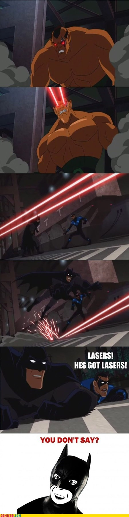 Saturday Morning Cartoons captain obvious nightwing lasers batman - 6865622528