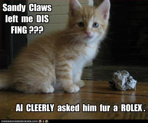 christmas present captions gift watch santa Cats rolex - 6865765888