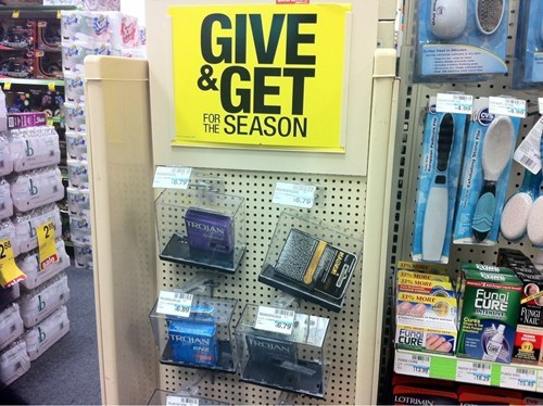 giving season,trojan,condoms