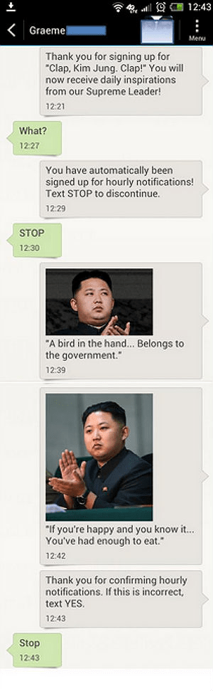 kim jong-un,text,phone,clap