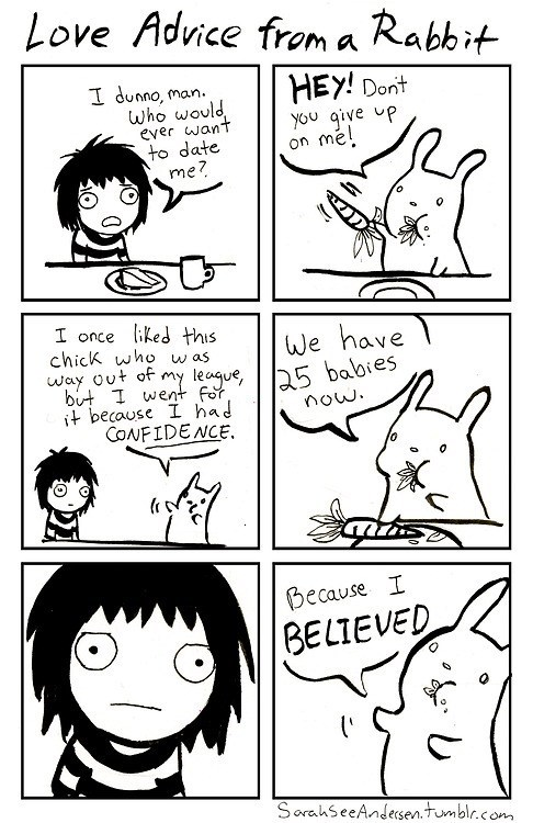 confidence doodle time love advice believe rabbits - 6866096128