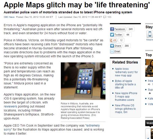 glitch cbc news apple maps ios 6 g rated AutocoWrecks - 6866193408