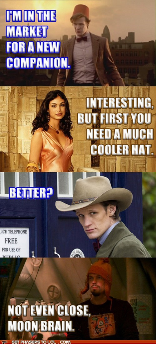 cool inara serra morena baccarin the doctor hats FEZ Matt Smith jayne cobb doctor who Firefly companion adam baldwin stetson