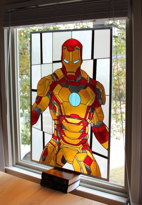 stained glass iron man window - 6866521856