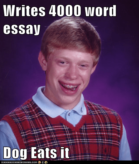 Writes 4000 word essay  Dog Eats it