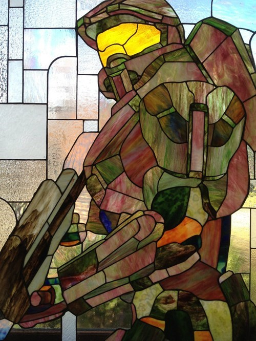 Fan Art,stained glass,master chief,halo,video games