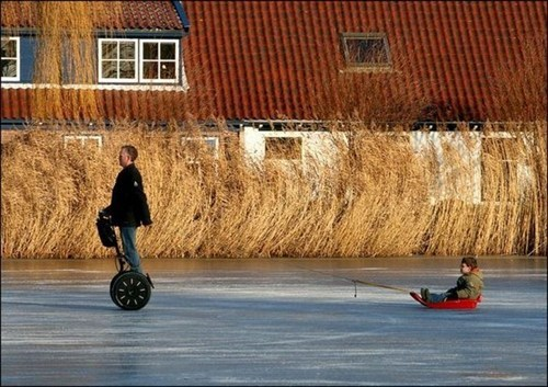 sledding,lazy,parenting,segway,winter,fathers day,funny