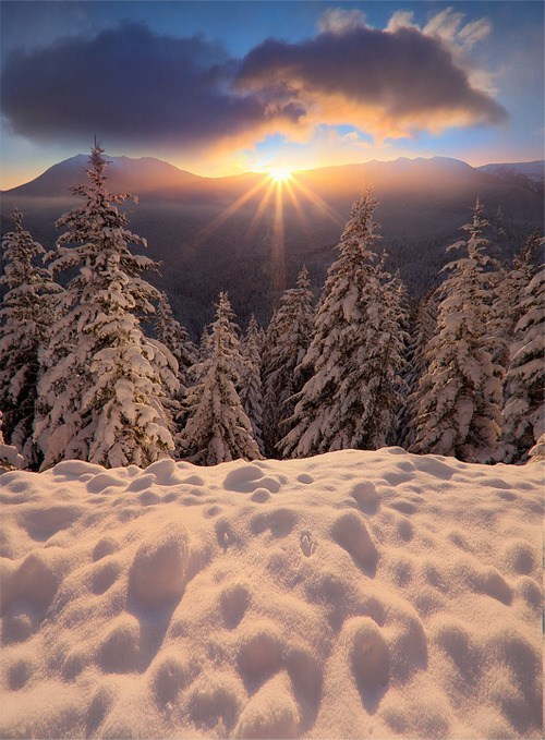 snow winter sunset destination WIN! g rated