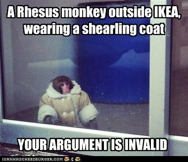 A Rhesus monkey outside IKEA, wearing a shearling coat YOUR ARGUMENT IS INVALID