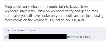 cookies,crying,crumbs,keyboard