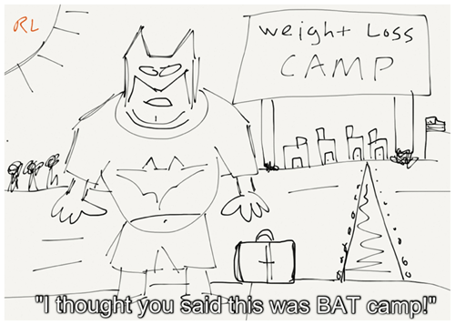 weight loss,fat,camp,misheard,misinterpretation,batman,bat