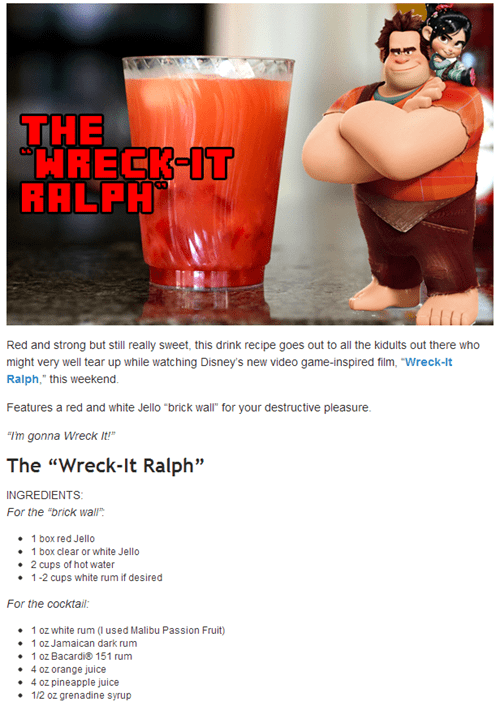 Early Morning Happy Hour,food beast,happy hour,wreck-it ralph