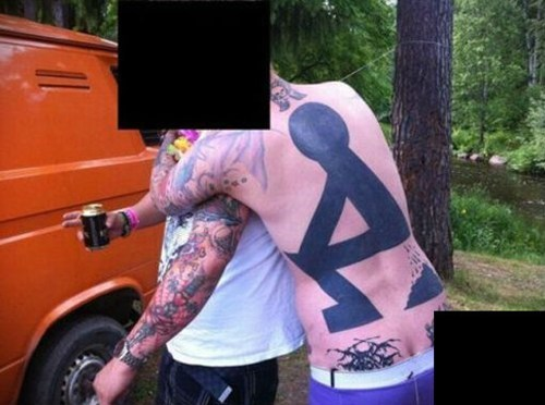 stick figures,poop,back tattoos
