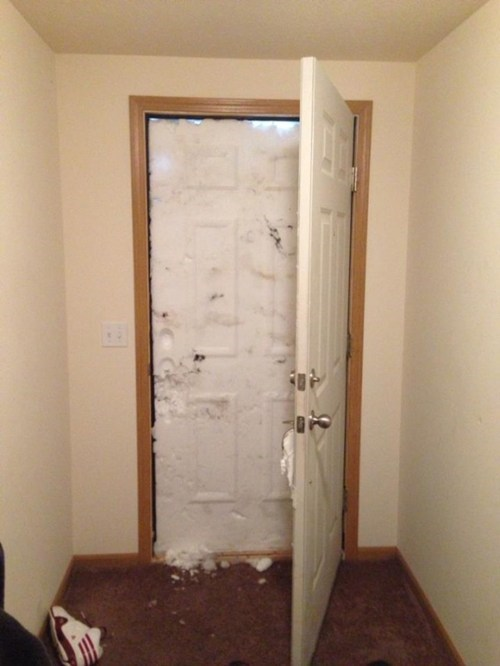 door,snow,snowed in,winter