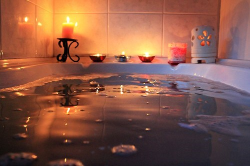 relaxing,staycation,candles,bathtub