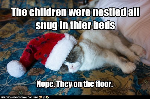 crumpy cat,christmas,tardar sauce,floor,captions,santa,Cats,hat