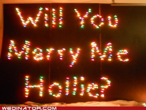 public outdoor proposal surprise christmas lights