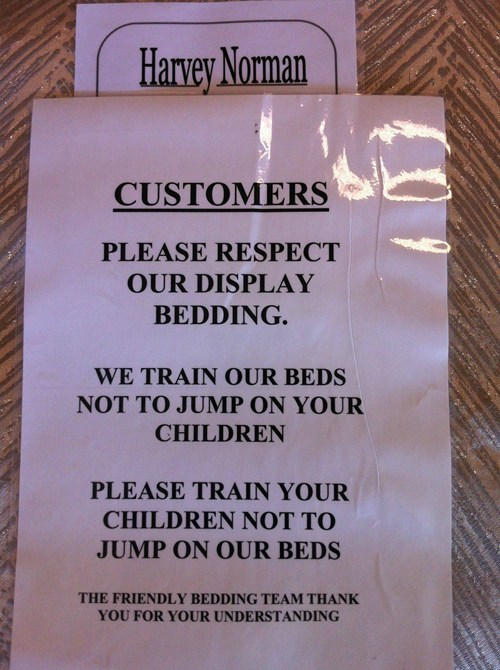 jumping on the beds store sign g rated Parenting FAILS - 6874394112